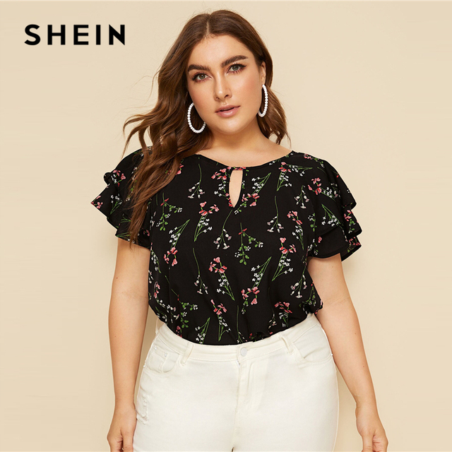 SHEIN Plus Size Choker Neck Layered Ruffle Sleeve Botanical Top Blouse 2019 Women Summer Casual Floral Print Cut Out Blouses 2