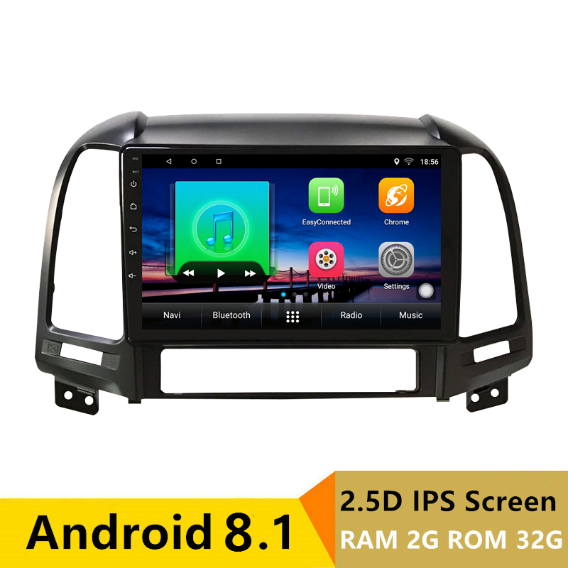 "9"" 2G RAM 32G ROM Android Car DVD Radio Stereo GPS For Hyundai SANTA FE 2006 2007 2008 2009 2010 2011 2012 audio headunit WIFI"