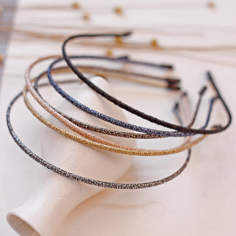 Fashion Women Super Thin Glitter Hairbands Personality Handmade Shiny Metal Colors Headbands Chic Hair Holder   Headwear