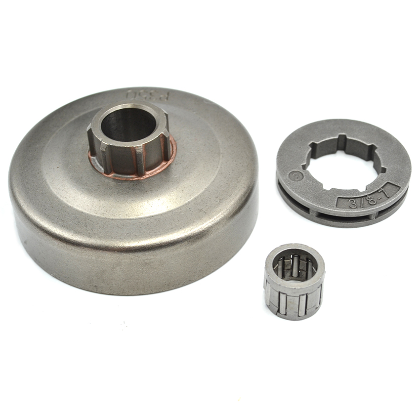 Clutch Drum 3/8 -7 Rim Sprocket  Needle Bearing Kit For Partner 350 351 Chainsaw Engine Parts chainsaw clutch drum assembly spur sprocket 3 8 6t fit partner 350 351 hus 530047061 poulan 1900 1950 1975 2050 2055 replaces