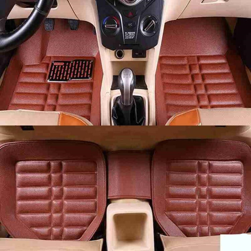Car Floor Mats Universal For Kia Rio 3 Soul Sportage 2011 2018 Sorento Cerato K3 Optima Car Leather Waterproof Floor Mat Carpet