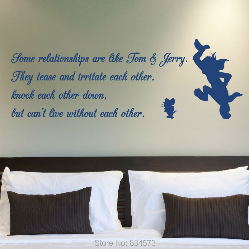 Tom And Jerry Relationship Quote Wall Art Stickers Decal Home Diy