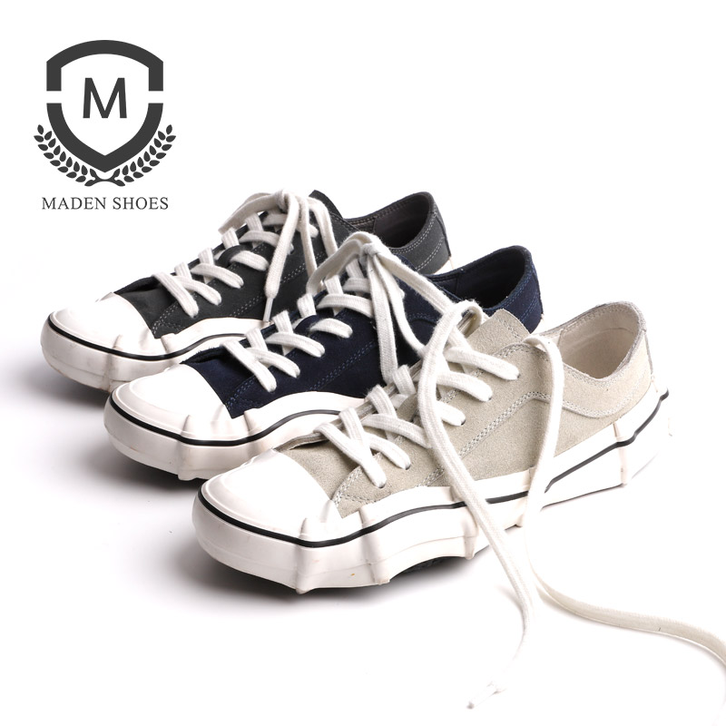 Maden Handmade Sporty Sea-wave Vulcanized Shoes Canvas Cow Split Suede Blue Grey Low Top Creative Pleated Men Sneakers Unique