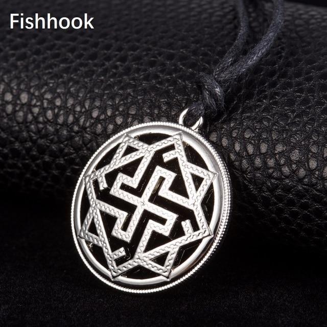 Fishhook Slavic Kolovrat Pendant Necklace Molvinets in Yarilo Symbol Valkyrie Amulet Talisman Viking Male And Female Ethnic