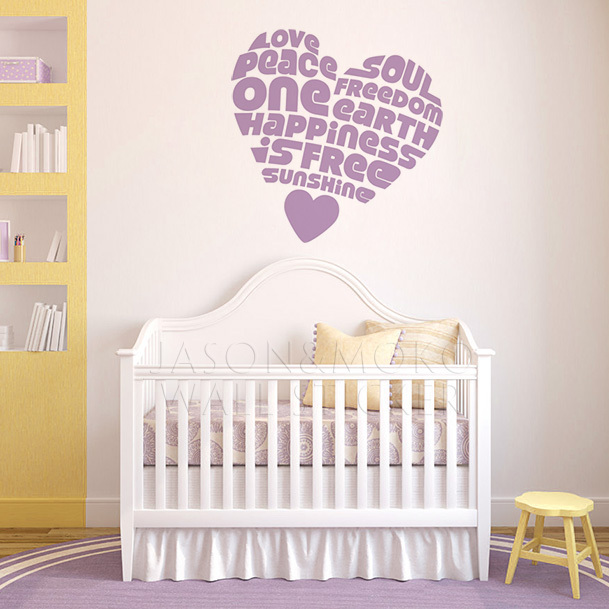 Hippie Heart Love 60cm 60cm Vinyl Wall Word Decal Quote Wall Art Lettering  Graphic Home Wall Decor 60*60CM Free Shipping