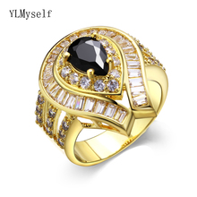New Big Gold color rings Black/White Cubic Zircon Womens Female Luxury jewerly Top quality accessories
