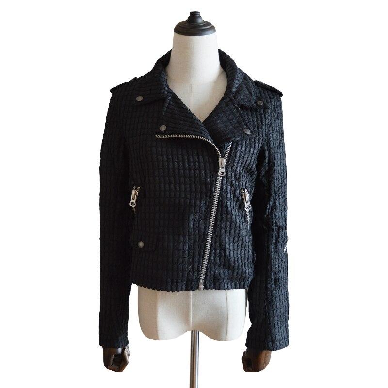 2018 New Ladies Retro Black Diagonal Zipper Jacket Fashion Women's Autumn And Winter Models Punk Short Jacket Handsome Jacket