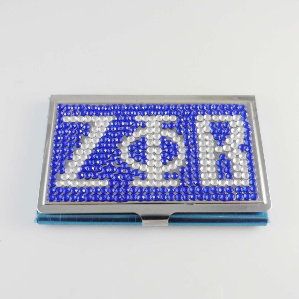 Custom ZETA PHI BETA Sorority crystal card case cute card holder jewelry business namecard case