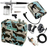 OPHIR New Cake Airbrush Compressor Kit Dual Action Airbrush Spray Gun for Hobby Cosmetics Makeup Body Paint Nail Art Machine Kit