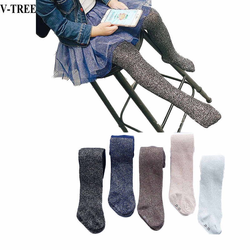 ec43936e262b7 V-TREE Spring Autumn Tights For Girls Gold Silver Wire Children's Tights  Cotton Pantyhose Girl