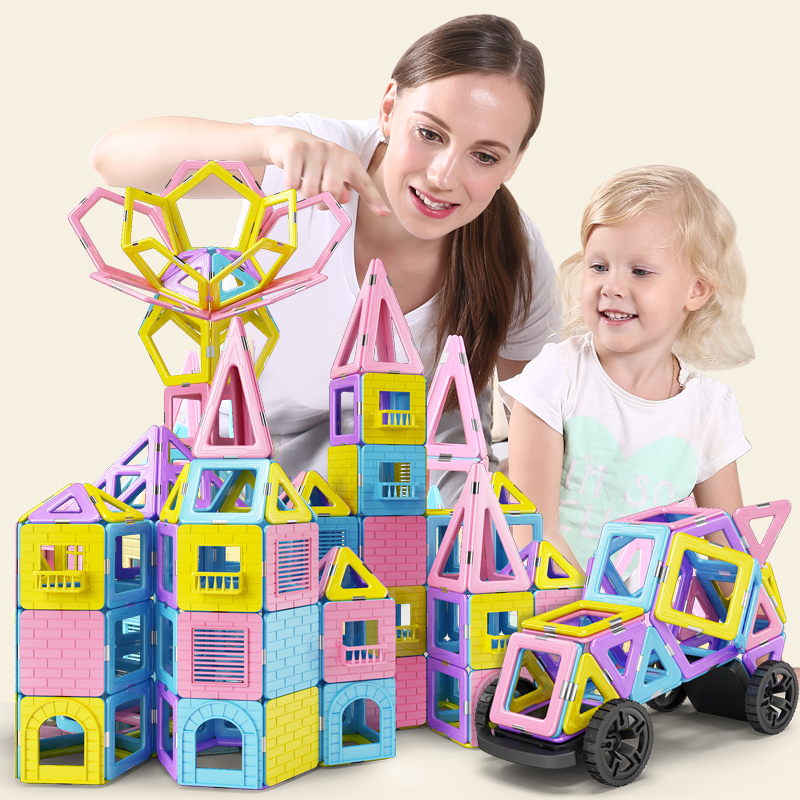 63 169 PCS Big Size Magnetic Constructor Set Pink Girls Building Magnets Toy Magnetic Blocks Educational