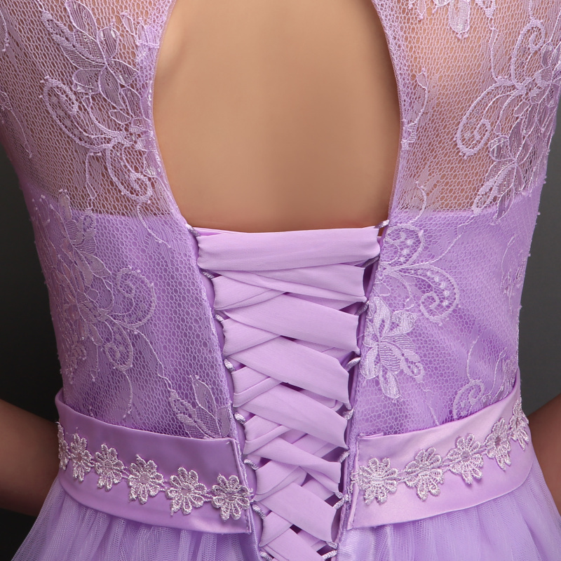 Lace A line Elegant Long Bridesmaid Dresses Wedding Party Gowns Half Sleeve  Formal Dress Light Purple Vestidos Lace Up With Bow-in Bridesmaid Dresses  from ... 80df69ca6