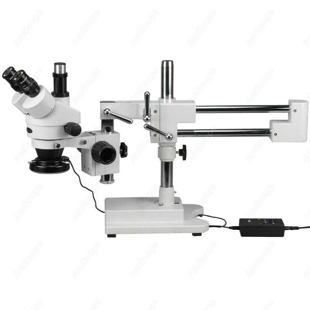 Trinocular Stereo Microscope--AmScope Supplies 3.5X-90X Trinocular Stereo Microscope With 144-LED Ring Light
