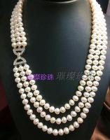 Popular 3row 7 8mm south white pearl necklace 18 20