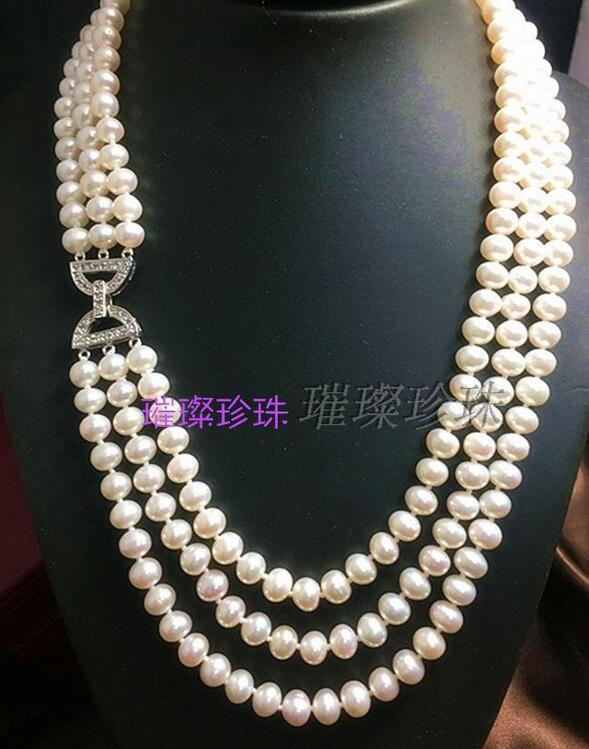 Populaire collier de perles blanches du sud 3row 7-8mm 18-20