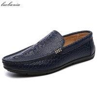 Fashion Men Loafers Crocodile Style Men Shoes Casual Moccasins Genuine Leather Shoes Men Flats Gommini Slip