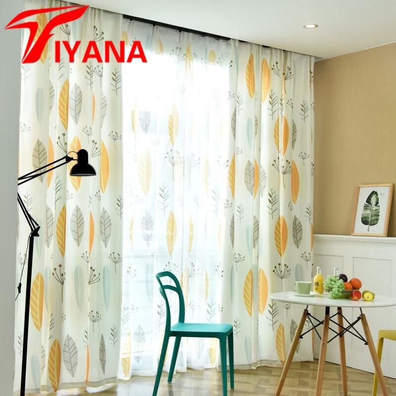 Nordic Einfache Anlage Vorhang Baumwolle Ins Stil Moderne Vorhänge Für  Wohnzimmer/Studie Zimmer Gelbe Blätter