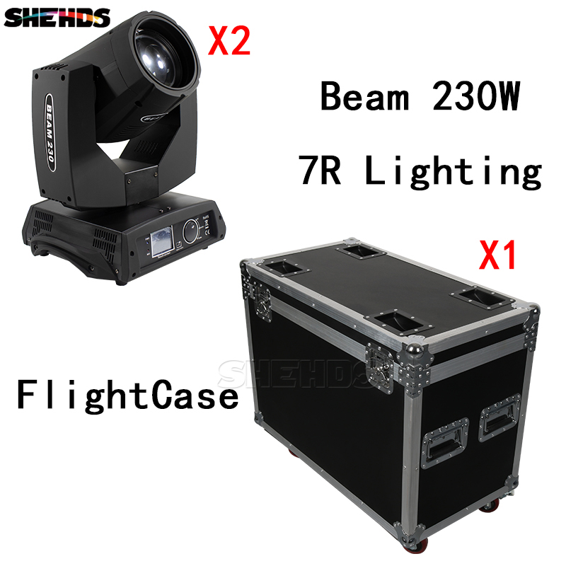 FlightCase With 2PCS Beam 230W 7R DMX512 Stage Effect Lighting Good For DJ Disco Party Dance Floor Wedding Decoration And Bar 2pcs led three eyes red green blue color laser stage effect lighting for dance floor and dj disco party ktv wedding decoration