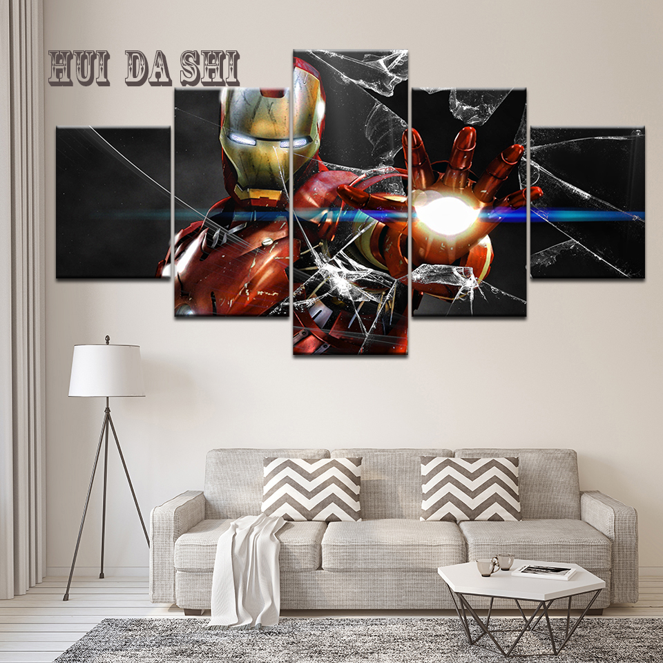 Frame 5 Piece HD Print Iron Man Marvel Movie Poster Painting Canvas Wall Art Picture Home Decoration Living Room Canvas Painting