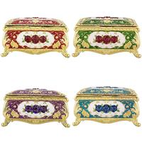 TUMBEELLUWA Vintage Enameled Rose Flower Gold Brim Rectanglar Collectible Jewelry Trinket Box for Women ,Dividers Inside