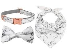 Мраморный ошейник для собак с галстуком-бабочкой персональный Регулируемый хлопковый ошейник для собак и кошек