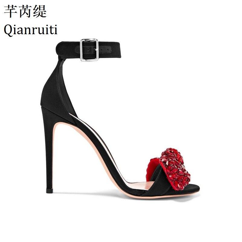 93ca7d2cf7a8 Qianruiti Red Crystal Bow-knot High Heels Women Sandals Fashion Week Style  Open Toe Women