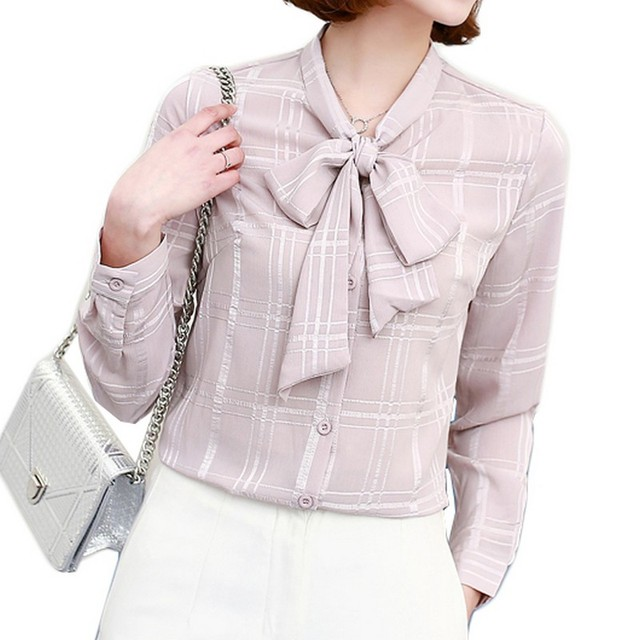 Women Bow Grid-Patterned Blouse Solid Slim-Fit Long Sleeves Chiffon Top Plus Size 3XL Office Lady Blouses Spring 2017 New Blusas