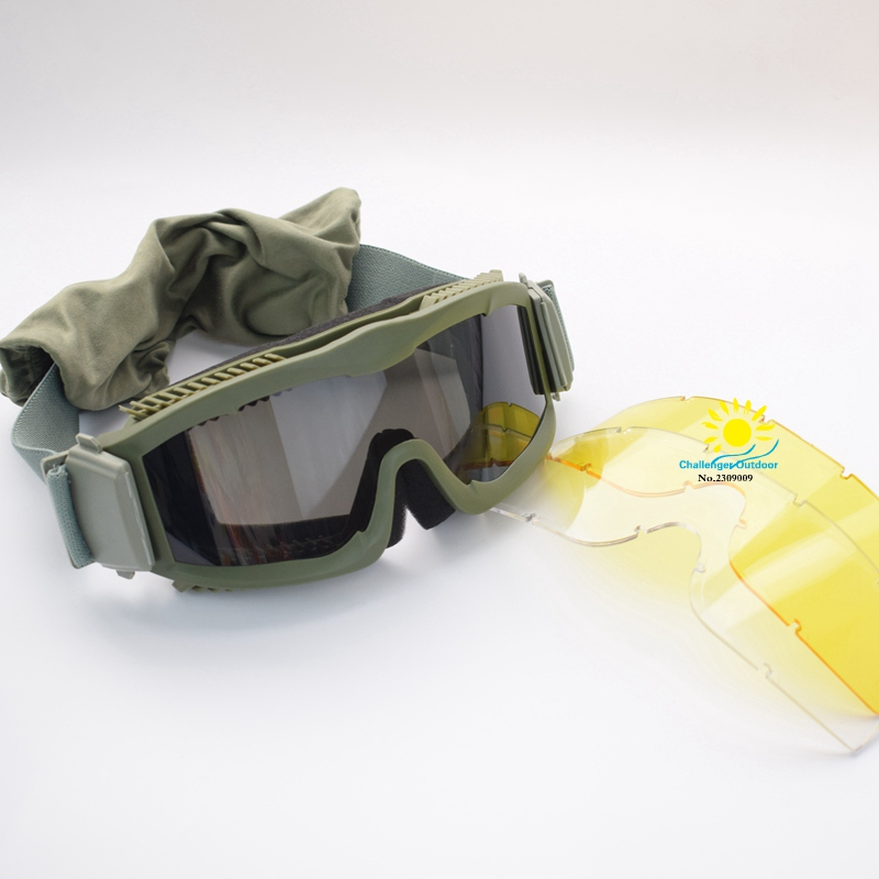 3color Airsoft Combat Military 3 Objektiv Tactical Goggles Army - Sportbekleidung und Accessoires - Foto 5