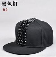 Wholesale Male Spike Studs Rivet Baseball Caps Men Hiphop Punk Rock Flat Snapback Hats