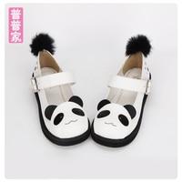 Princess sweet lolita shoes Summer panda design Princess soft sister cute and lovely muffin shoes fashion sandal women pu8527