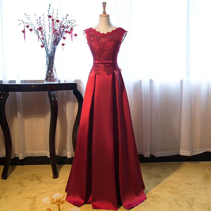 Robe Demoiselle D'honneur2019 New Lace Satin A Line Burgundy Bridesmaid Dresses Long Vestido Madrinha Cheap Wedding Guest Dress