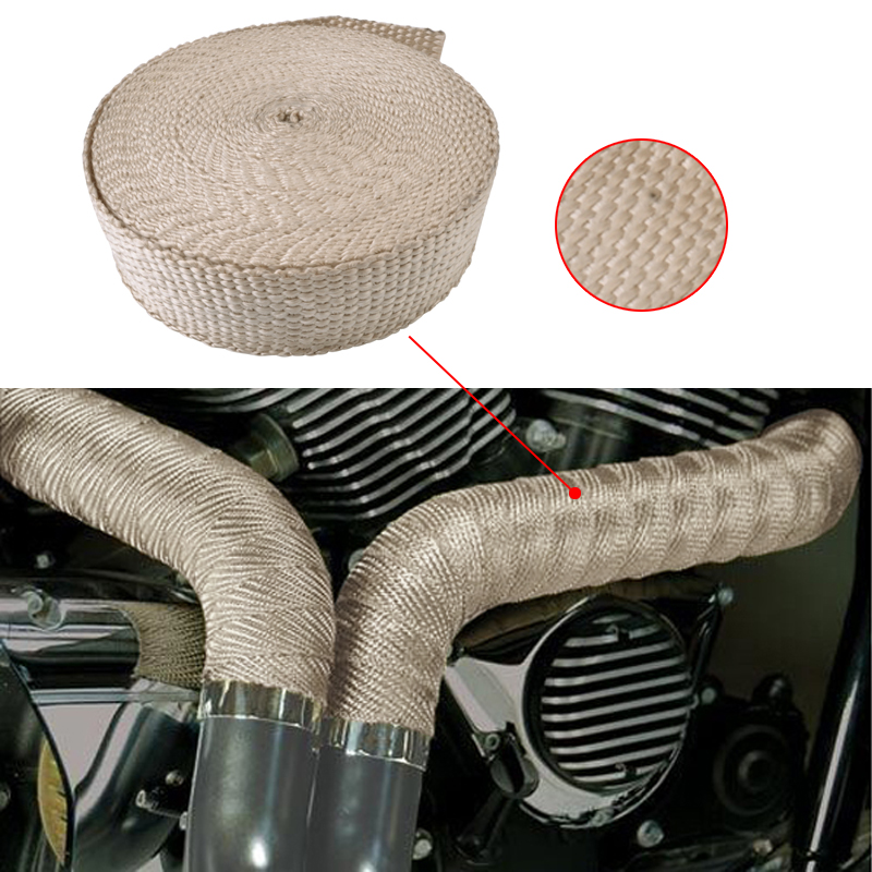 Evil Energy 15M Thermal Exhaust Heater Pipe Tape Heat Insulating Resistant Wrap Fireproof Cloth Roll With 6 Durable Steel Ties