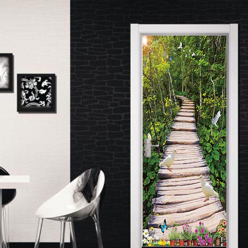 77x200cm 3D Jungle Trail Door Sticker Wallpaper Mural PVC