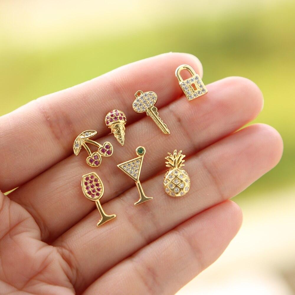 summer beach women minimal jewelry tiny cherry ice cream Fruit wine key lock design charm cz cute small delicate stud earring(China)