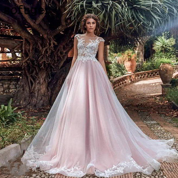 Pink A line Tank Backless Appliques Tulle Wedding Dresses Robe De Mariage 2019 Custom Made Available