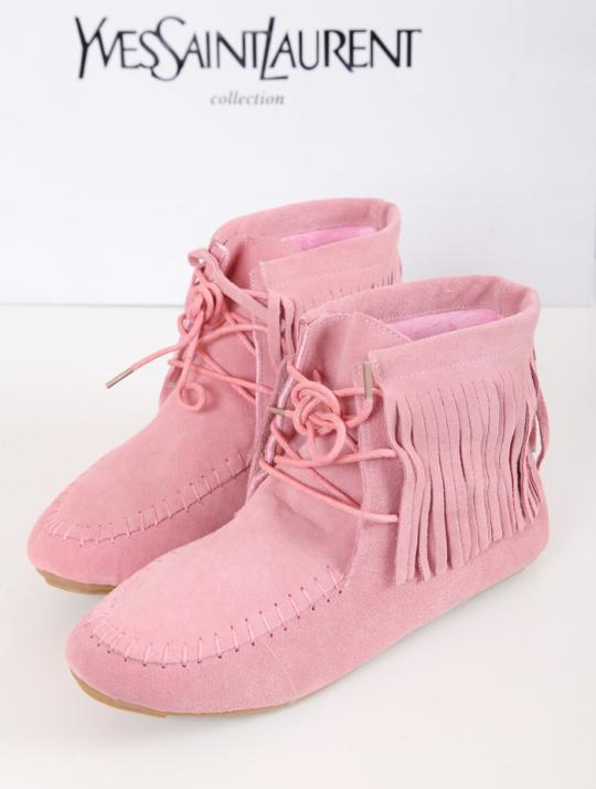 Tassel boots pink nubuck leather lacing flat heel female boots women's shoes