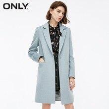 Только женские зимние Новые простые длинные шерстяные пальто подол письмо патч невидимый дизайн кнопки пальто женское  11834S517