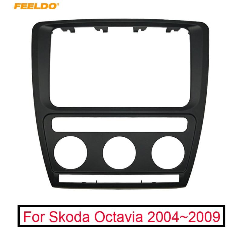 FEELDO Black Car DVD Radio Stereo 2DIN Fascia Panel Refitting Frame Facia For Skoda Octavia 2007