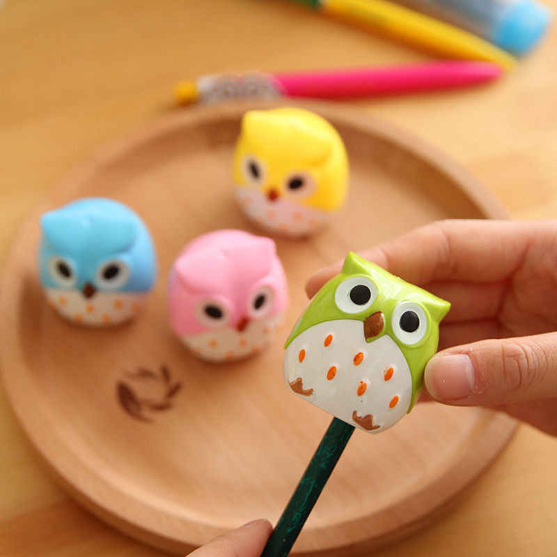 1PCS Cute Kawaii Lovely Plastic Owl Automatic Pencil Sharpener Creative Stationery Gifts For Kids School Supplies XBQ15