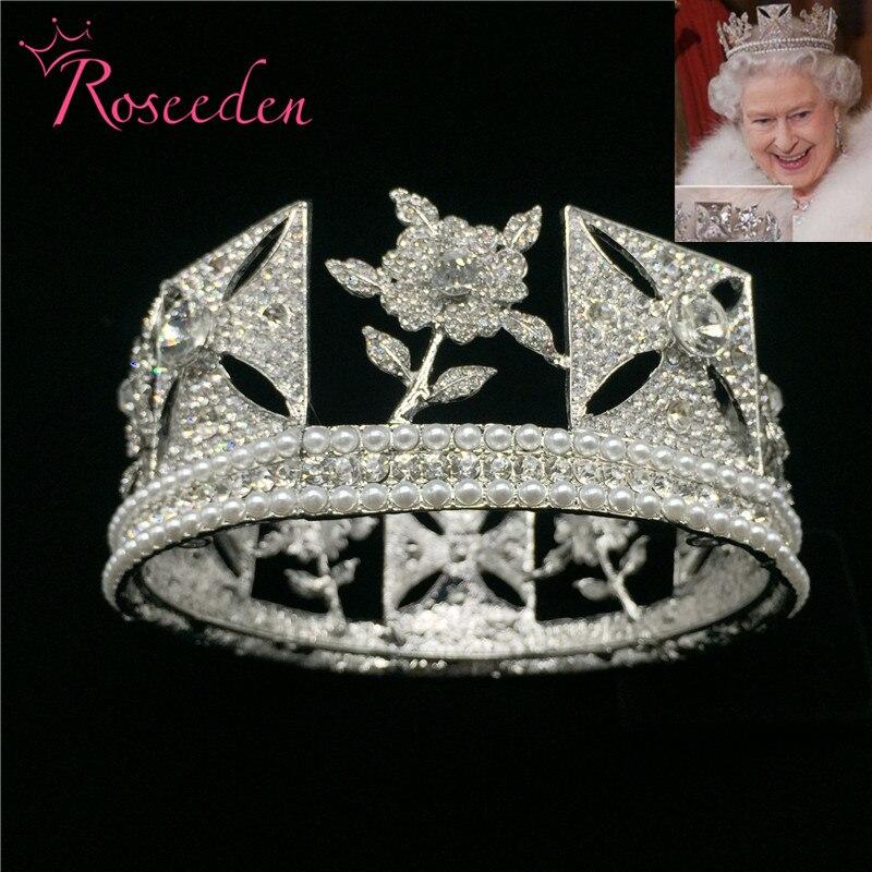 Baroque Royal Queen Crown Wedding Full Circle Pageant Tiara Crowns Bride Diadem Hair Jewelry RE3073 beauty vintage full round gold baroque crown circle rhinestone wedding queen king tiara pearl bride hair accessories