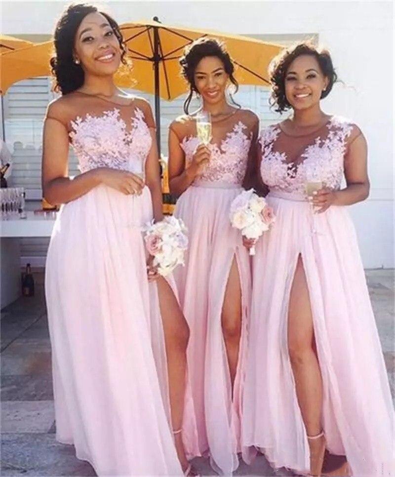 2019 Sheer Lace Appliques Chiffon Long Bridesmaids Dresses Split Spring Vestidos De Honor Of Maid Beach Robe De Bridesmaid Dress