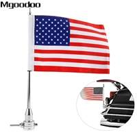 Mgoodoo 1Pc Motorcycle Aluminum Rear Side Mount Flag Pole With USA Flag For Harley Bikes Bobber
