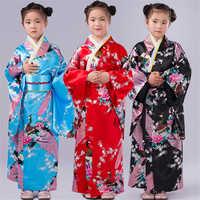 110-150cm Children Girls Japanese Traditional Costumes Kimono Dress with Obi Bathing Robe Yukata for Kids Girls Dance Wear