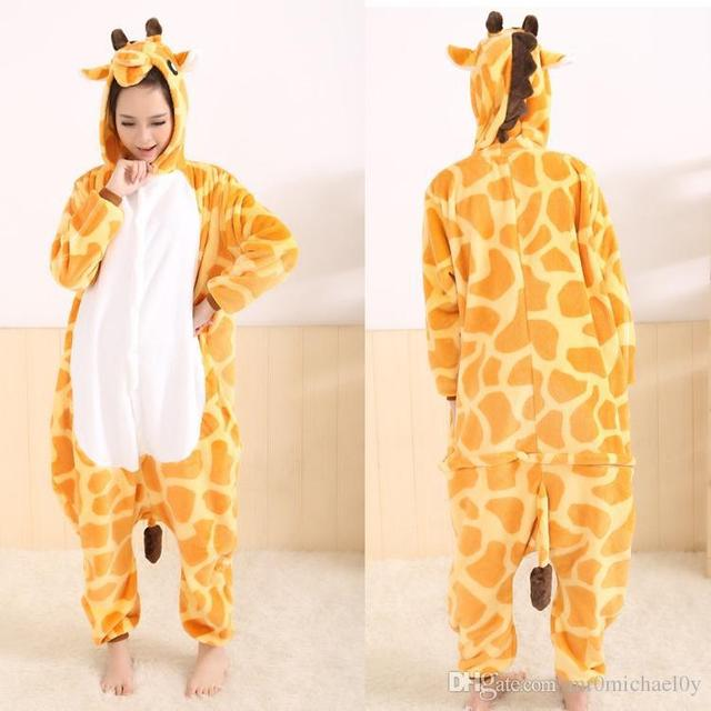 aa63ef0f917a Giraffe Style One Piece Pajama Onesies For Adult Cute Animal Pajamas  Onesies Men Women Animal Onesies Jumpsuit Pajama