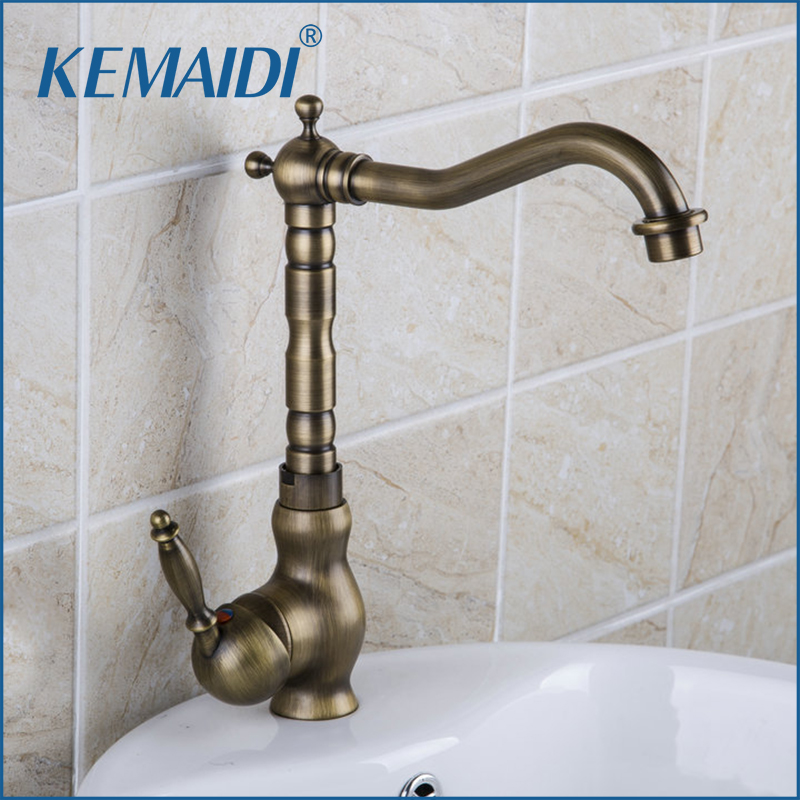 KEMAIDI Single Handl Antique Brass Kitchen Cozinha Torneira Kpah 8628 Deck Mount Brass Vessel Sink Faucets,Mixers & Taps kemaidi 3 pcs antique brass