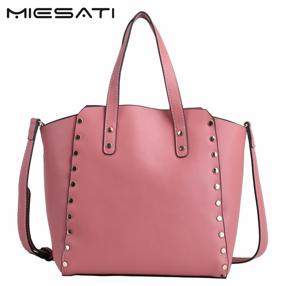 MIESATI New Bags Handbag Women Fashion Shoulder Bag Designer Handbags High Quality Rivet Leather Ladies Bucket Casual Tote Bag leftside fashionable 2017 women tassel designer rivet boston bag female handbag woman hand bags shoulder bag with wide strap