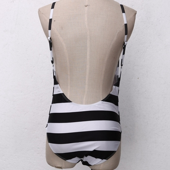 Striped Open Back One Piece Swimsuit with V-Neck 4