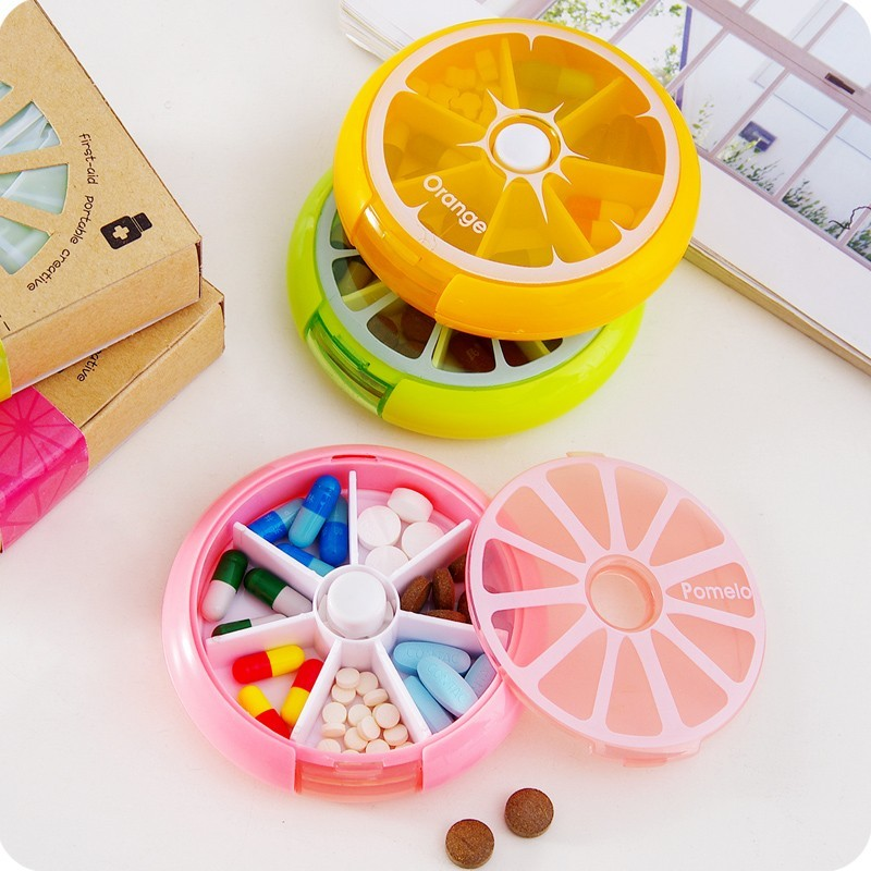 New-Portable-fruit-style-7-grid-seal-rotation-Storage-Cases-Jewelry-candy-box-Storage-Box-Vitamin