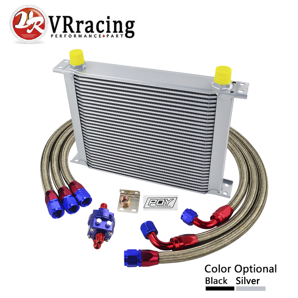 VR RACING - UNIVERSAL 30 ROWS AN10 OIL COOLER KIT +OIL FILTER ADAPTER + NYLON STAINLESS STEEL BRAIDED HOSE WITH PQY STICKER+BOX