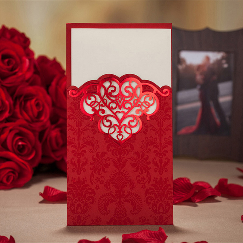 30pcs Red/Golden Laser Cut Elegant Flora Embossed Wedding Invitation ...